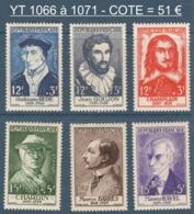 067- Timbres YT 1066 à 1071 - Célébrités Du XVème Au XXème - 1956 - France