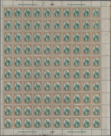 Guatemala: 1881, 2 C. Small Quetzal In Two Complete Sheets Of 100 Pieces Each With Different Positio - Guatemala