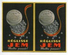 PUBLICITE Réglisse JEM Rare Carte Double   Carte DOUBLE  Art Déco 1930    D15 2019 - Publicidad