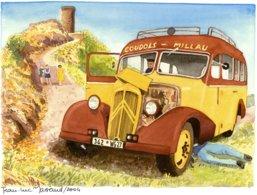 Depannage D'Autobus Citroen Coudols-Millau -  Aquarelle Par Jean-Luc Marsaud  - (A4 30x21cms Art Print) - Buses & Coaches