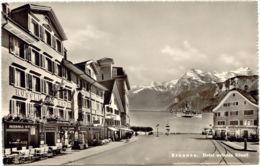 """SCHWEIZ BRUNNEN, Ca. 1930, Ungebr. S/w AK, Hotel """"Weisser Rössli"""" Und Hotel """"Post"""", TOP-Erhaltung - SZ Schwyz"""