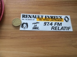 AUTOCOLLANT, Sticker * «RELATIF 97.4 FM - Ecoutez La Radio - RENAULT EVREUX (27)» - Adesivi