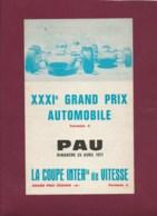 041019 - SPORT AUTOMOBILE - PROGRAMME XXXIe GRANDS PRIX AUTOMOBILE F2 F3 PAU 1971 CRAVEN A - Automobile - F1