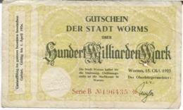 ALLEMAGNE SUNDERT MILLIARDEN MARK GUTSCHEIN DER STADT WORMS - [ 3] 1918-1933 : Weimar Republic