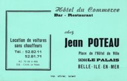 """Carte De Visite """" Chez Jean Poteau """" Hôtel Du Commerce à Saint Palais ( Belle Ile En Mer ) - Cartes De Visite"""