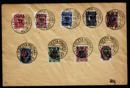 A6334) Poland Polnisches Korps 9 Verschied. Marken Auf Umschlag Mit Stempel 15.5.18 - ....-1919 Provisional Government