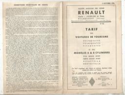 Publicité , Automobile , 1935,RENAULT , Tarif Des Voitures De Tourisme Et Des Modéles 6 & 8 Cylindres , Frais Fr  1.85 E - Pubblicitari