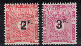 COTE DES SOMALIS - LOT SÉRIE De 2 TIMBRES TAXE SURCHARGÉS N° 9 & 10 NEUFS * TB (CHARNIÈRE) - Côte Française Des Somalis (1894-1967)