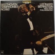 * LP *  BEETHOVEN: SYMPHONIES No.1 & 2 - NEW YORK PHILHARMONIC / LEONARD BERNSTEIN (Holland 1977 EX-!!) - Klassiekers