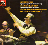 * LP *  SCHUBERT: SYMPHONY No.8 - MENDELSSOHN: SYMPHONIY No.4 - PHILHARMONIA ORCHESTRA / KLEMPERER - Klassiekers