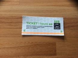 "Ticket De Transport (bus, Métro, Tramway) STAR - RENNES(35) ""TICKET 1 Heure"" - Subway"