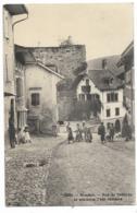 MOUDON-Rue Du Château Et Ancienne Tour Romaine...1913  Animé - VD Vaud