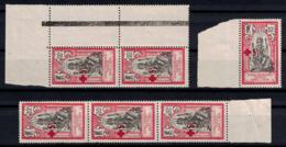 INDE - LOT De 6 TIMBRES N° 48 NEUF ** MNH CROIX-ROUGE SURCHARGÉ Dont PAIRE BANDE BORD DE FEUILLE - Indien (1892-1954)