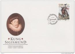 ROYAL FAMILY König Roi KING SIGISMUND III WASA OF POLAND AND SWEDEN 1998 MI 2081 FDC Horse Dog Slania - Royalties, Royals