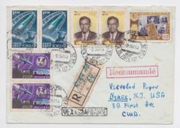 SPACE USSR REGISTERED COVER ENVELOPPE ESPACE URSS CCCP RIGA LETTONIE LATVIJA 1961 POUR NYACK TIMBRE LUMUMBA LAÏKA STAMP - Briefe U. Dokumente