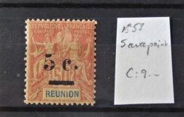 Réunion - N° 53 * - MH - Variété 5 Avec Point Blanc   - Cote : 9 Euros - Oblitérés