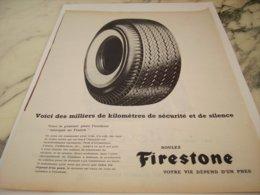 ANCIENNE PUBLICITE  PNEU FIRESTONE 1961 - Other