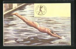 Künstler-AK Olympiade 1928, Schwimmer Beim Hechtsprung Ins Wasser - Unclassified