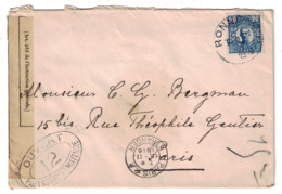 1916 - CENSURE Sur LETTRE COVER WW1 De SUEDE Pour PARIS FRANCE CACHET RONNEBY OUVERT PAR AUTORITÉ MILITAIRE - Briefe U. Dokumente