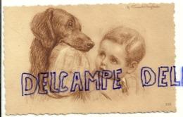 Chien Et  Bébé. Signée Vincent Anglade (teckel ?) - Illustratori & Fotografie