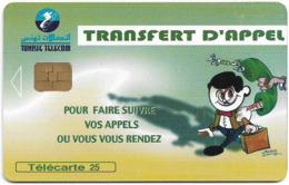 Tunisia - Tunisie Telecom - Transfert D'Appel, 25Units, Chip Orga, 08.2000, 50.000ex, Used - Tunisie