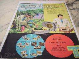 ANCIENNE PUBLICITE ELECTROPHONE TEPPAZ 1961 - Music & Instruments
