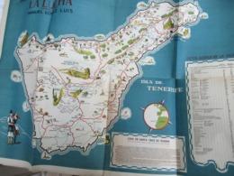 Carte Publicitaire/Gran Fabrica De Tabacos Y Cigarillos/La LUCHA/Isla De Tenerife/Manuel CANARIES/Vers 1940   PGC385 - Geographical Maps