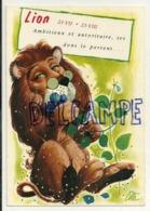 Lion, Fleur Et Lunettes. Horosco-carte Du Professeur MARCUS. Signée Cotta - Astrologie