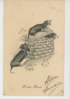 """CHIENS - DOG - Jolie Carte Fantaisie Viennoise Chiens Et Gui De """"Bonne Année""""  - H.H. I W. N°956 - Neujahr"""