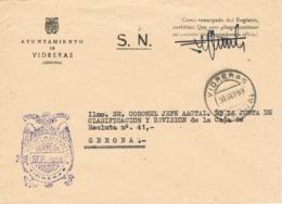 34092. Carta S.N. Franquicia Ayuntamiento VIDRERAS (Gerona) 1959. Fechador Vidreras - 1931-Hoy: 2ª República - ... Juan Carlos I