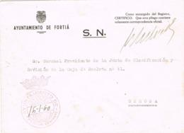 34093. Carta S.N. Franquicia Ayuntamiento FORTIÁ (Gerona) 1960. - 1931-Hoy: 2ª República - ... Juan Carlos I