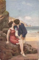 """""""Couple. Kissing. Silence Is Golden!"""" Tuck Oilette Pebles Of The Beach Ser. PC # 9954 - Tuck, Raphael"""