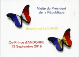 ANDORRA. Timbre Isabelle (papillon) Visite Du President Macron ,Co-Prince D'Andorre, Septembre 2019. Avec Cachet Andorre - Butterflies