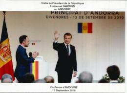 Visite Du President Macron,Co-Prince D'Andorre, Septembre 2019.Napoléon.1er Co-Prince 1806 Au Dos, Avec Cachet Andorre - Andorra Francese