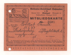Mitgliedskarte - Stuttgart 18.6.1925 Bodensee-Gesellschaft Schwaben - Organizations