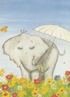 CARTE POSTALE ELEPHANT AVEC UN PARAPLUIE FLEURS PAPILLON        EL10 - Elefantes