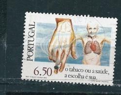 N° 1490 Journée Mondiale De La Santé Campagne Antitabac 6,50 Timbre Portugal  Oblitéré 1980 - Oblitérés