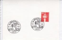 BRD Mi: 848 Leuchtturm . K Stempel: 4800 Bielefeld 1. 19. Wirtschaftsschau, Computer, Natura, WISA U. Urlaub.30.4.1985 - [7] République Fédérale