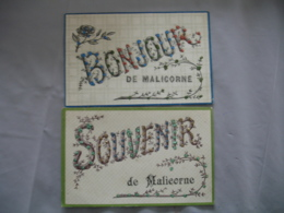 Lot De 2 Souvenir Un Bonjour De Malicorne Carte Ajouti Brillant - Malicorne Sur Sarthe