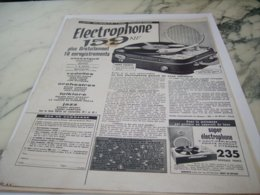 ANCIENNE PUBLICITE ELECTROPHONE 1961 - Music & Instruments