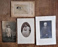 4 Photo Anciennes à Thème Religieux : Communiante / Enfant En St Jean-Baptiste / Prêtre / Enfant Sur Son Lit De Mort - Personnes Anonymes