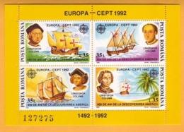 1992 EUROPA CEPT ROMANIA  BLOCK Mint  Columbus America. Sailboat Ocean. - Europa-CEPT
