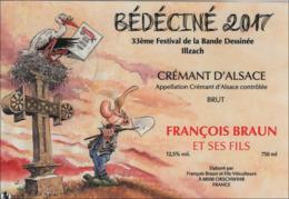 BEDECINE 2017 ILLZACH & Marc HARDY : étiquette De Vin Crémant Du 33ème Festival D'Illzach Album Pierre Tombale BD Strip - Champagne