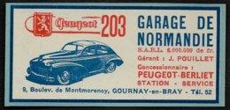PUBLICITE DE 1951 -- GARAGE DE NORMANDIE PEUGEOT  GOURNAY EN BRAY  7A315 - Advertising