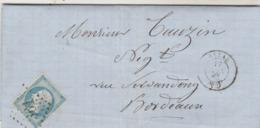 France Yvert 22 Lettre Entête Raymond BAZAS Gironde 15/1/1867  GC 361 Pour Bordeaux - Postmark Collection (Covers)