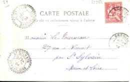 N°75968 -cachet Double Cercle Pointillé -de St Sylvain (Maine Et Loire) 1904 - Marcofilia (sobres)