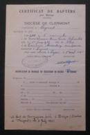 Certificat De Baptême Daté De 1941 - Paroisse De Ceyrat - Protagoniste De Ceyrat - Nacimiento & Bautizo