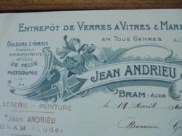 FACTURE - BRAM, AUDE, 1910 - VERRES A VITRES ET MARBRES : JEAN ANDRIEU - DECO - Frankreich