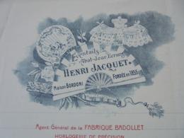 FACTURE - PARIS Xème,1911 - EVENTAILS, ABAT-JOUR : HENRI JACQUET - DECO - Frankreich