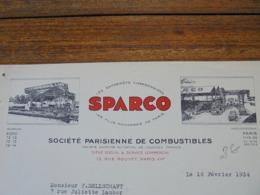 FACTURE - PARIS XIXème, 1934 - STE PARISIENNE DE COMBUSTIBLE : SPARCO - DECO - Frankreich